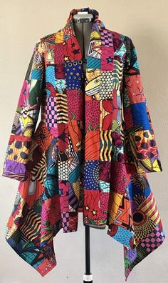 Wow Factor African Wax Print Patchwork Asymmetric Jacket Cotton Lined African Print Dresses, African Print Fashion, African Fashion Dresses, African Dress, Fashion Prints, Fashion Design, African Attire, African Wear, Mode Kimono