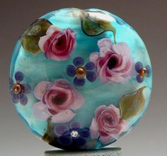 "Happiness Lampwork Focal Bead 1.5"" Lentil Special  -  Lydia Muell"
