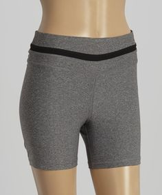 Look what I found on #zulily! Heather Gray Reflective Zip Bike Shorts #zulilyfinds