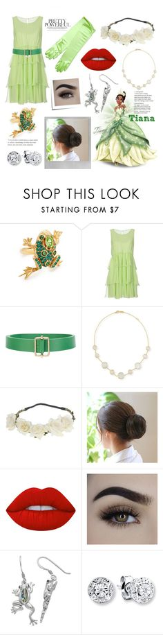 """""""Tiana"""" by carley-ann ❤ liked on Polyvore featuring Polaroid, Post-It, Oscar de la Renta, Disney, Ermanno Scervino, Sofie D'hoore, Ippolita and Lime Crime"""