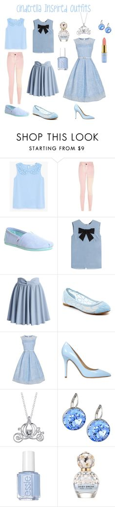 """Cinderella Inspired Outfits"" by aechau ❤ liked on Polyvore featuring MANGO, TOMS, Steffen Schraut, Chicwish, Mixx Shuz, Semilla, Disney, Swarovski, Essie and Marc Jacobs"