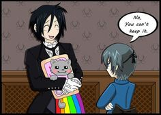 Black Butler Sebastion has a cat problem