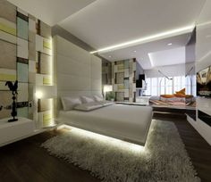 Bedroom- love the underneath lighting