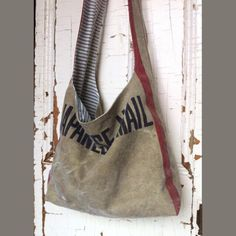 JAPANESE POST - reconstructed japanese mail sack sling tote by yahbag on Etsy https://www.etsy.com/listing/174557183/japanese-post-reconstructed-japanese