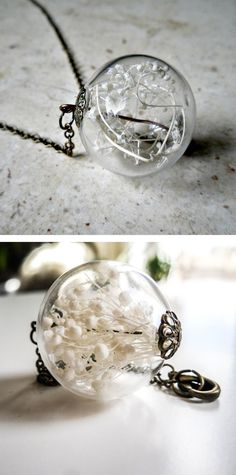 Baby's breath orb necklace Cute and dainty item to put in a mini glass jar necklace.