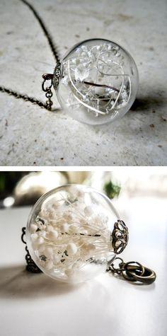 Baby's breath orb necklace