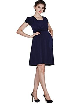 7f2d5647fb211 Sweet Mommy Short Sleeve Front Gathered Maternity and Nursing Dress Navy LL  -- You can