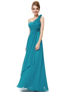 Brenda - Beautiful full length bridesmaid dress. Padded enough for the no bra option. Decorative flowers are on the shoulder strap and waist area. A beautiful flattering style with a conceal back zip and lining. NZ$115