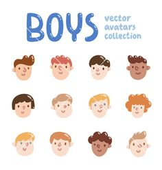 Boys colorful avatars collection vector- by stolenpencil on VectorStock®