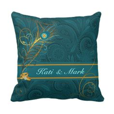 Personalized Peacock Wedding Pillow