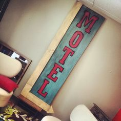 XL Distressed Wood MOTEL Sign Retro by TheDecorativeCompany, $795.00