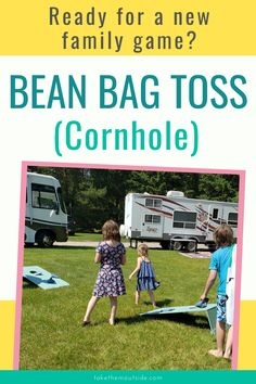The best backyard family game for large groups! Learn how to play, rules, DIY instructions for bean bag toss and cornhole. Make your next family reunion a fun one with this activity. #beanbags #cornhole