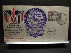 WILLEMSTAD, CURACAO 1943 WWII Postal History Cover KLM ROYAL DUTCH FLIGHT Cachet