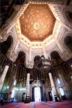 Adorable Dome Inside The El-Mursi Abul Abbas Mosque, Alexandria Islamic Architecture, Art And Architecture, Alexandria Egypt, Most Beautiful, Asia, Fair Grounds, Mosques, Blue Nile, Ceilings