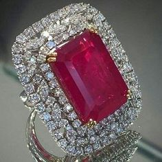 Diamond Jewelry Red emerald cut marquise halo party ring right hand cocktail 925 sterling silver Ruby Jewelry, Diamond Jewelry, Fine Jewelry, Ruby Diamond Rings, Cartier Jewelry, Jewelry Making, Expensive Gifts, Big Rings, Ring Verlobung