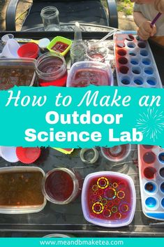 Outdoor Water Sensory Table play ideas for kids - how to make a fun science lab for summer play for your children - lots of ideas and tips and tricks for simple, free play ideas. Perfect for use with a tuff tray or tuff spot. Sensory Activities, Sensory Play, Summer Activities, Toddler Activities, Learning Activities, Sensory Diet, Toddler Learning, Indoor Activities, Preschool Ideas