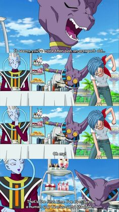 Bulma, Beerus, and Whis  I love beerus stupid faces it reminds me of my cat