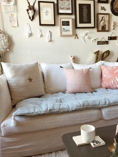Sofa cover lin lavé bleu ciel