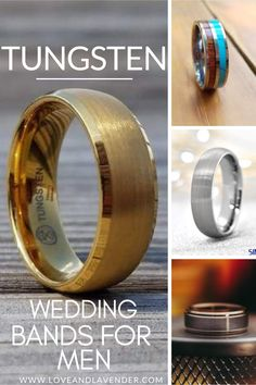 Tungsten Wedding Bands for Men | Wedding Bands Men | Mens Tungsten Wedding Band | - Love & Lavender #weddingbands #mensweddingbands #tungsten #tungstenrings #rings Tungsten Wedding Bands, White Gold, Unique