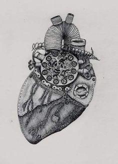 Biomechanical Tattoo Design, Broken Heart Drawings, Steampunk Heart, Music Collage, Body Art Photography, Bronze Skin, Anatomical Heart, Heart Images, Human Heart