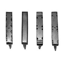 Decorated latch bars often have complimentary, filed and punch work staples, here are four designs; the simplest staple has filed surfaces and beveled edges.