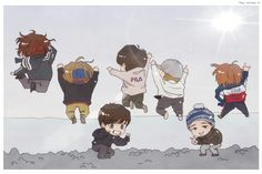 Chibi Boy, Bts Chibi, Cartoon Wallpaper, Bts Wallpaper, Jikook, Bts Young Forever, Bts Bon Voyage, Bts Backgrounds, Bts Aesthetic Pictures