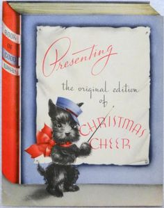 """Scottie dog 1930s book-theme Christmas greeting card. Inside, there's an illustration of the dog at a desk, and removable """"books"""" with greetings."""