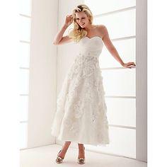 A-line Sweetheart Ankle-length Organza Wedding Dress  – USD $ 179.99