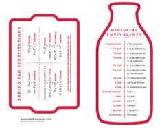 Cooks' Helpers by marthastewart via wonderfuljoyahead: Download the charts here and make them into laminated cards or magnets. (There's also one for candy making. ) http://www.marthastewart.com/271961  #Baking_Pan_Equivalents/cooks-helpers?czone=crafts/clip-art-templates/clip-art-organizing  #Cooking #Measure_Equivalents #Baking_Pan_Equivalents #marthastewart #wonderfuljoyahead