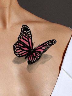 Wear this beautiful pink butterfly 3D tattoo when you want a hint of mystery. The butterfly on this watercolor tattoo appears to be actually sitting on your skin. There is an extra surprise when you notice the skull incorporated into the wing design. Available as either a black or a color tattoo. The butterfly tattoo represents faith and acceptance, or transformation. Wear as a shoulder or chest tattoo, a leg or arm tattoo, or anywhere you desire!