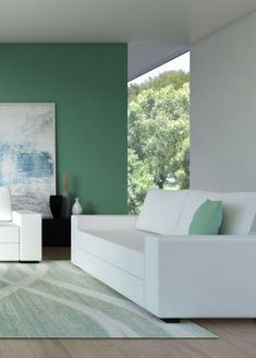 White and green living room ideas. Find more living room ideas like this only on roomdsign.com Best Wall Colors, Best Paint Colors, White Couches, Living Room Green, Beautiful Interiors, Living Spaces, Room Ideas, Sofa, Group