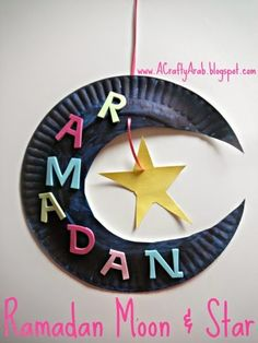 A Crafty Arab - Ramadan Moon & Star made from a paper plate. Well, here we are, half-way through our 30 day Ramadan Crafty Challenge.  We have been having so much fun doing all these crafts.  I have to admit, it's been great spending some one on one with each daughter as she does her craft.  Today was my five year old's chance to create her own wall decorative hanging …