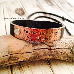 Leather cuff Bracelet   Hand Stamped Bracelet by FarrarCreations, $32.00