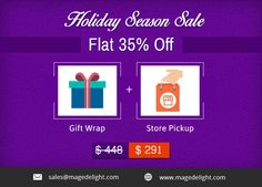 #Magento2 #Giftwrapextension is a very useful holiday product that allows your customers to select the gift wrap suitable for any occasion & any type of products before delivery.  And, if you have physical presence, let your customers make an order online and pick up the same from the store at the scheduled date & time with MageDelight's #StorePickupextension.  On buying this bundle extension, you get whopping 35% OFF. Hurry! The Offer is only till 30th November. #magentodeals…