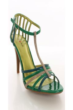 COLORFUL HEELS,SANDALS & SHOES   Home / Green Multi Faux Leather Color Block Heels