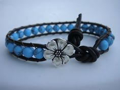 Turquoise Beaded Leather Bracelet with Flower by tinacdesigns, $18.00