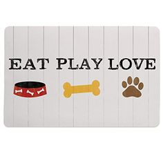 Laural Home Eat Play Love Pet Mat One size WhiteMulticolor -- Details can be found by clicking on the image.