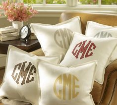 Monogram Pillow for Under Forty Dollars? We'll take it! Monogram Applique Pillow Cover from #Pottery Barn