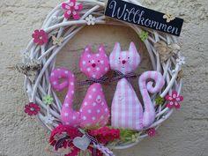 Türkranz Weidenkranz Katzen Sommer Shabby Rosa  von mein rosa rot  auf DaWanda.com