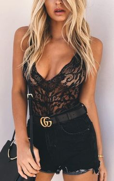 #spring #outfits Black Lace Bodysuit + Black Denim Short + Black Leather Shoulder Bag