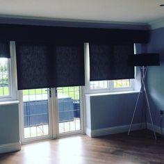 @scionfabrics Plains 5 graphite as #pelmets and laminated into roller blinds look amazing in situ! #stripeinteriors