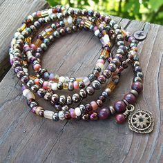 Dark Gypsy - Black Rainbow and Burnt Amber Beaded Stretch Bracelets by Angelof2, $26.00