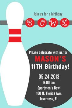 DIY PRINTABLE Boy or Girl Bowling Party Invitations | PinkMonkeyPartyPrints - Digital Art  on ArtFire