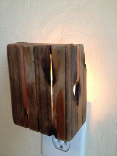 Hand crafted! Rustic reclaimed wood night light |