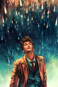 Hey there. Are you looking at your hair, or at the stars? <3 10th Doctor fanart