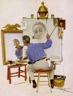 Norman Rockwell < Triple Self-portrait > (1960년) *화가의 실제 body는 관람자에게 등을 보이고 있지만 그의 얼굴은 거울과 캔버스를 통해 보여지고 있다. 그리고 캔버스 주변에는 자화상 습작 및 렘브란트와 고흐 등 유명 화가들의 자화상이 붙어있다. 그에게는 거장들처럼 되고자 하는 열정이 있다는 생각이 든다. 그래서인지 화가가 자신의 얼굴을 거울에 비추어진 것보다 근엄하고 멋있게 그리고 있는 것이 재미있다. 화가 본연의 모습은 뒷모습일까, 아니면 캔버스에 그려지고 있는 자화상일까?