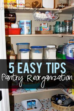 Best Diy Crafts Ideas 5 Easy Tips for Pantry Reorganization {love the hanging baskets idea for little crushable items and paper plates! Organize Your Life, Organizing Your Home, Organising, Pantry Organization, Organized Pantry, Pantry Ideas, Kitchen Pantry, Kitchen Hacks, Kitchen Storage