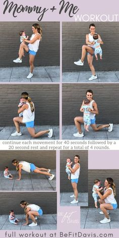 froggers  squat + pulse  rotating walking lunges  rotating knee lift  important: this workout is designed to be done with a baby who has control of their head and neck.  modify as needed to ensure safety of your baby at all times.