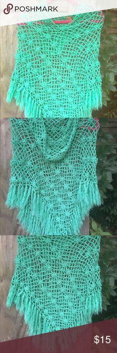 Poncho/Tunic Seafoam Green Knit Seafoam Green Knit Poncho/Cover Up/ Tunic Sweaters Shrugs & Ponchos