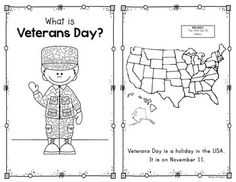 {Veterans Day Reader} for First Grade and Kindergarten Social Studies. Kid friendly wording and students will be delighted to take it home to read with their family. Age Group: Older Preschool Kindergarten Social Studies, Social Studies Activities, Kindergarten Science, Teaching Social Studies, Kindergarten Classroom, Classroom Activities, Classroom Ideas, Veterans Day Activities, Holiday Activities